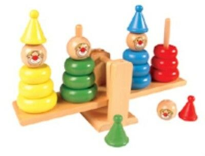 NEW Educational Traditional Wooden Toy Balancing Clown