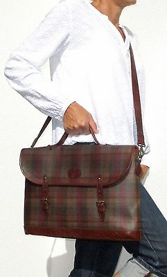 MULBERRY Business Bag  Messenger Bag Scotchgrain Tartan Leder braun 40 cm