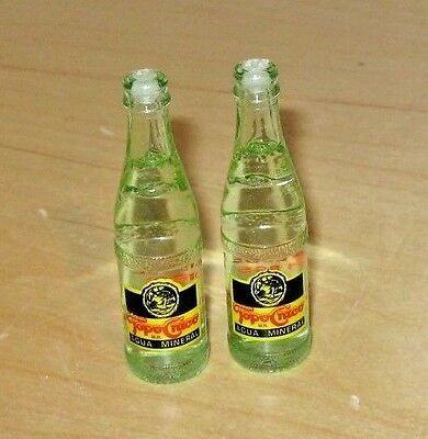 2 Miniature Topo Chico Embossed Glass Mineral Water Bottles