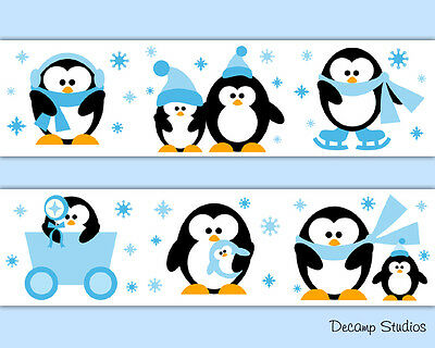Arctic Penguin Wallpaper Border Wall Art Decals Baby Boy Nursery Animal Stickers