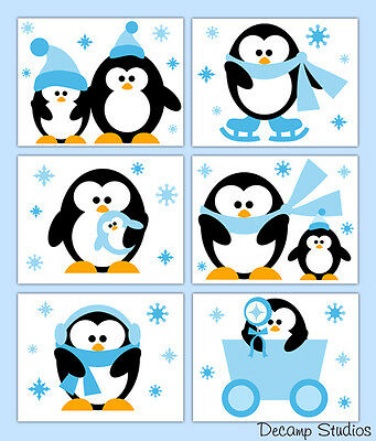 Winter Arctic Penguin Nursery Prints Neutral Boy Wall Art Room Decor Baby Gift
