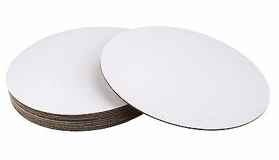 """Fox Run 12"""" White Round Cardboard Cake Gingerbread House Craft Bases, 8-Count"""