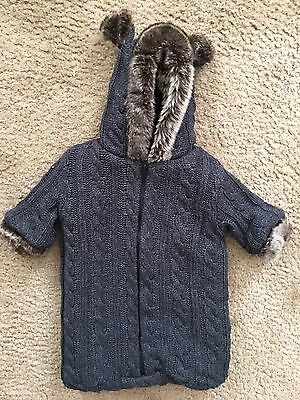 RESTORATION HARDWARE Child & Baby 0-6M Knit/Faux Fur Hooded Bunting One Piece