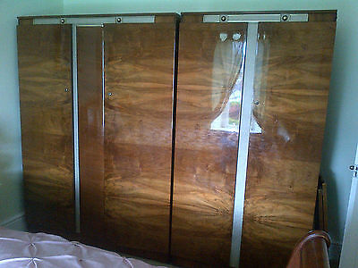 Art Deco Matching His and Hers Walnut Vaneer Wardrobes