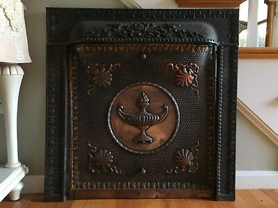 Antique Cast Iron Ornate Fireplace Surround With Copper Summer Cover