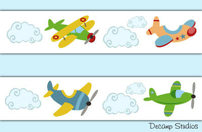 Airplane Wallpaper Border Wall Art Decals Boy Transportation Nursery Stickers