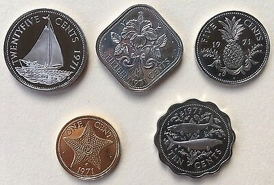 Bahamas 1971 Proof Coins 1 5 10 15 And 25 Cents Sailboat Hibiscus Fish Pineapple