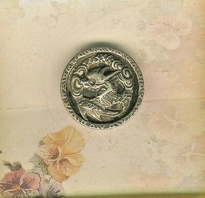 Chinese Silver Dragon Button
