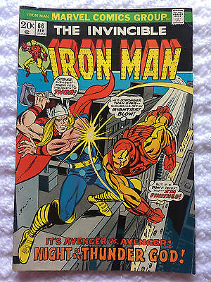 Vintage 1974 The Invincible Iron Man Vol 1 No 66 W/ Thor Marvel Comic Book