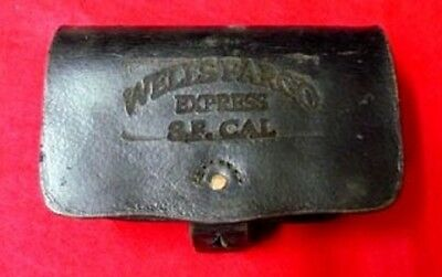 Vintage Antique 1880 - 1930 Leather Ammo Pouch Stamped Wells Fargo, S.F. Cal.