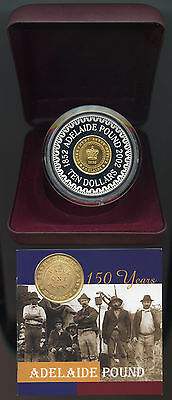 2002 Australia PROOF Adelaide Pound Silver 60.5g large 50mm diameter, gold plate
