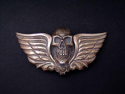 Skull Belt Buckle - Sterling Silver - Al Beres - Hand Made Finished Back - Biker