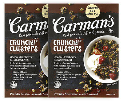 2 x Carman's Crunchy Clusters Cocoa, Cranberry & Roasted Nut 500g