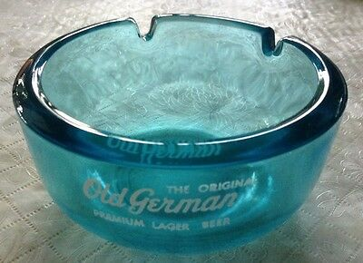 Vintage The Original Old German Premium Lager Beer Blue Glass Ashtray Ash Tray
