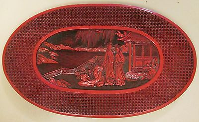 "RARE Vintage Chinese Cinnabar Lacquer Carved Red/Black Plate (6.5 x 10.5"") Asian"