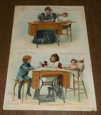 Antique Trade Card Singer Sewing Machine No 27 Cabinet Table East Troy Wisconsin