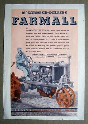 Original 1934 Farmall Tractor Ad F-20 Low Cost Power the Whole Year Round