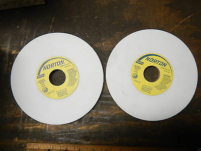 "2, New Old Stock Norton Surface Tool Grinding White Wheels 7"" X 1/4 X 1 1/4"