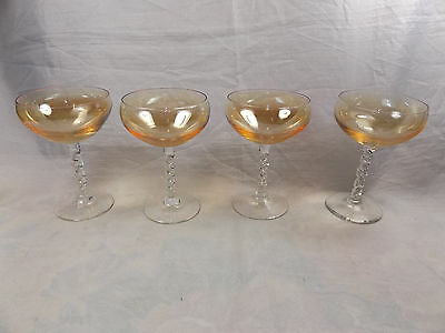 Lot of 4 x Vintage Apricot Peach Carnival Art Glass Champagne Glasses