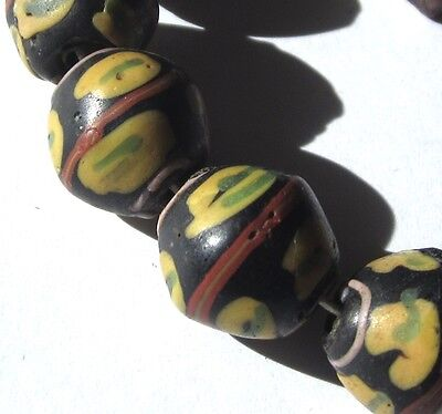"8 Rare Stunning Old Black Venetian Bicone African ""king"" Antique Beads"