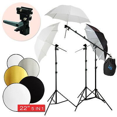 Photo Studio Camera  Flash ShoeMount Swivel Soft Umbrella Boom Stand Kit