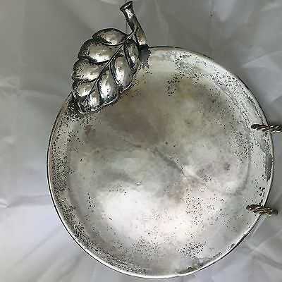 "10"" Hand Wrought Sterling Silver Plate / Platter Leaf Design Mexican ? 555g"