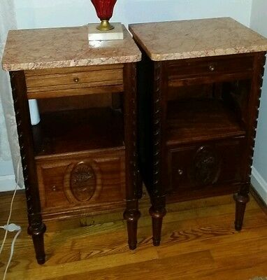 Pr French Carved w/ Baskets Nightstands Tables Marble Louis XVI Style 1900s FINE