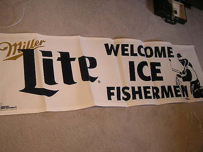 New! Nice Miller Lite Light Welcome Ice Fishermen Fishing Beer Banner Sign  Pole