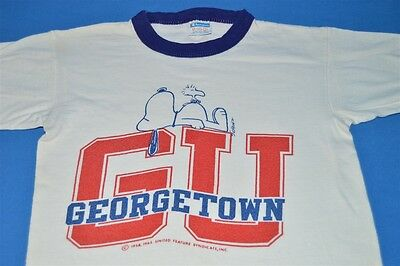 vtg 70s SNOOPY GEORGETOWN UNIVERSITY CHAMPION BLUE BAR RINGER t-shirt YOUTH M YM