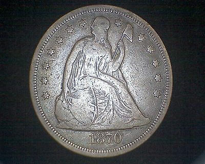1870 Seated Liberty Silver Dollar #14875