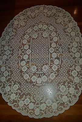Antique 1950's Sardinian Ecru Cream Knotted Buratto Filet Lace Tablecloth