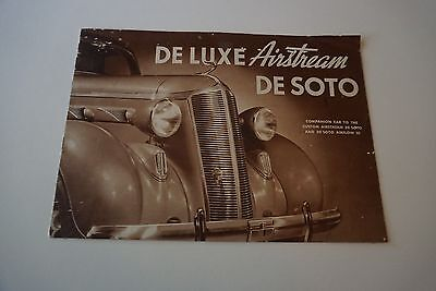 "1936 Deluxe Airstream De Soto Automobile Brochure Sepia 7"" x 10"" 12 Pages GOOD"