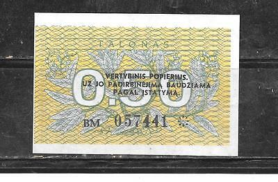 LITHUANIA #31b 1991 UNUSED OLD OVERPRINT .50 TALONAS BANKNOTE CURRENCY MONEY