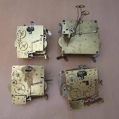 4 Vintage Fhs Westminster Chime Clock Movements - Spares / Repair
