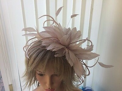 Nude   Pink   Feather  Fascinator-Hat Wedding,ascot,accessories, Custom Made