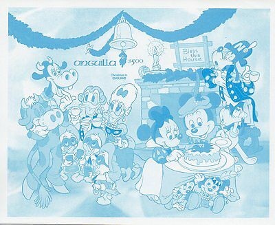 g506 Sheet Stamp 1980 Anguilla Christmas England Color Proof imperf Disney MNH