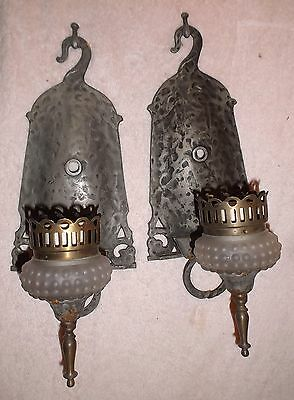 Pair Antique Hammered Arts & Crafts Wall Sconce Lights Gothic/Tudor/Medieval