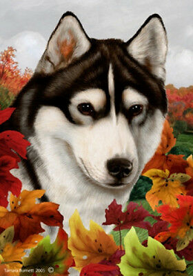 Garden Indoor/Outdoor Fall Flag - Black & White Siberian Husky 130381