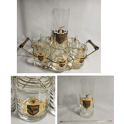 Mid Century 11pc CREST Bar Cocktail Set 8 Glasses Stirrer Pitcher Wire Wood Rack