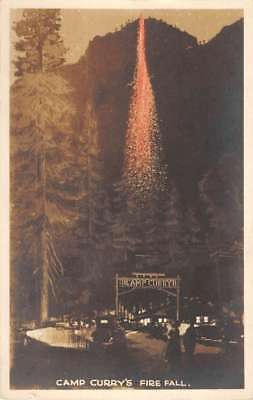 Camp Curry California Fire Fall Tinted Real Photo Antique Postcard K70861