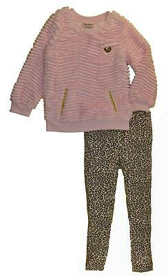 Juicy Couture Girls Faux Fur Top W/Pockets 2pc Legging Set  Size 6