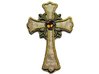 """2.5"""" Christian Gold White Iridescent Lame Budded Cross Iron On Patch"""