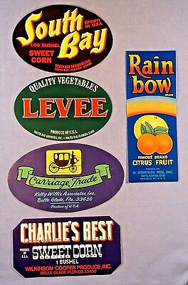 """CRATE LABELS - COLORFUL SET OF 5  FROM FLORIDA - 7x5""""  NEAR MINT ORIGINAL LABELS"""