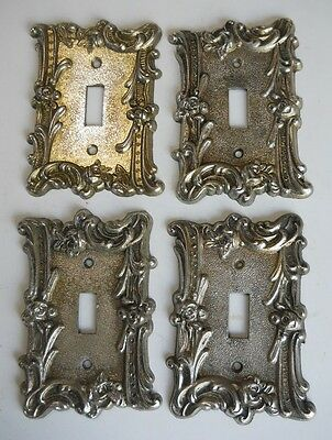 VINTAGE ROSE MOTIF METAL SWITCH PLATE COVERS.Lot of (4)