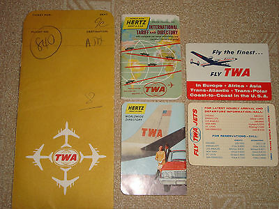 TWA Airlines vintage lot of ticket sleeve, pocket calendars, ads on booklets
