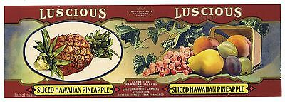 LUSCIOUS Brand, Hawaiian Pineapple, *AN ORIGINAL 1910's TIN CAN LABEL* K36