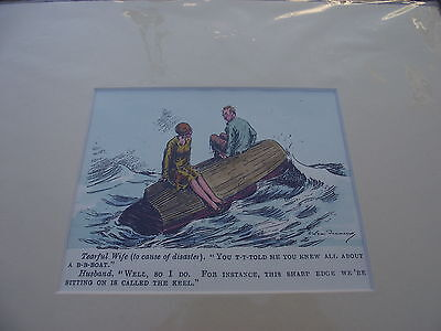 "mr punch ! a handpainted antiquarian reproduction watercolour "" ship wrecked """