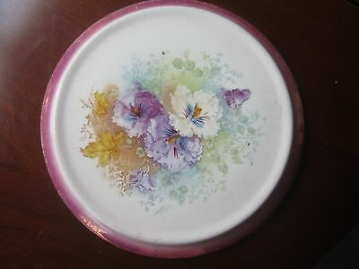Antique Franz Anton Mehlem Purple White Floral Porcelain Luster Trivet Germany