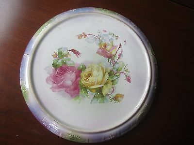 Antique Franz Anton  Mehlem Pink & Yellow Rose Porcelain Luster Trivet  Germany