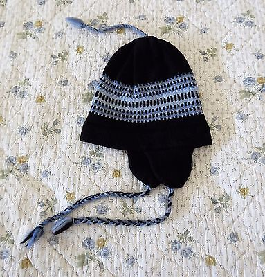 NEW Wasatch Warmers 100% Wool Hat Beanie Earflap Junior Size Black Blue USA Made